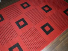 New Modern Rug 190x280cm Woven Backed Black Red Great Quality Squares Design mat